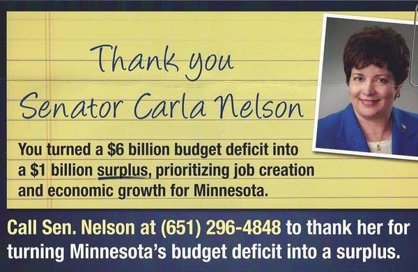 Flier supporting Sen. Carla Nelson