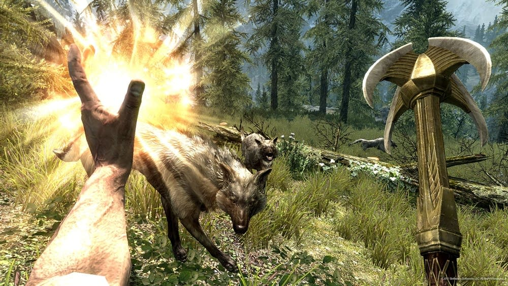 Wolves and magic in Skyrim