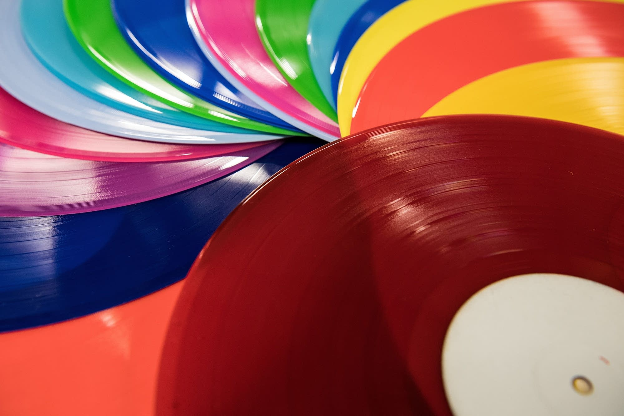Colored vinyl at a pressing plant in England, 2017.
