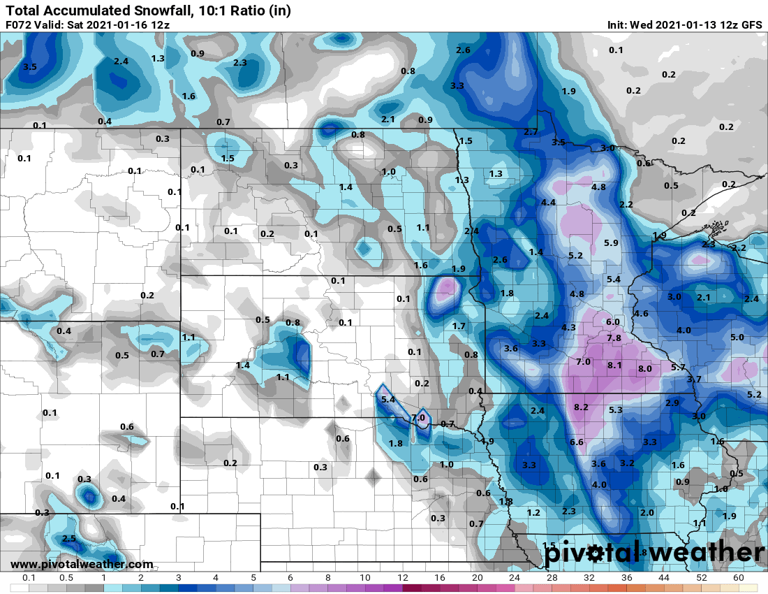 NOAA GFS snowfall output by Saturday