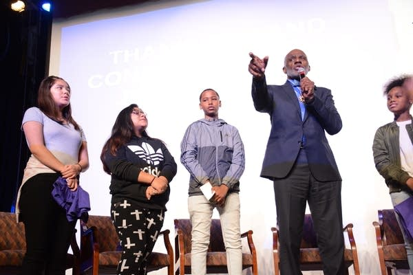 Alan Page speaks to students at a Minneapolis middle school.