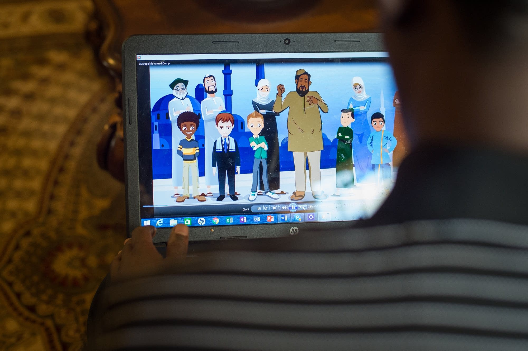Mohamed Ahmed shows an animation clip