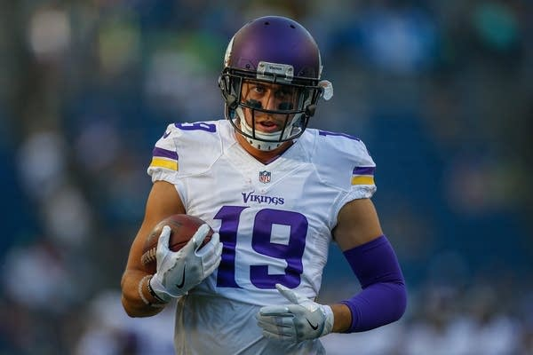 Adam Thielen warms up prior to the game against the Seattle Seahawks.