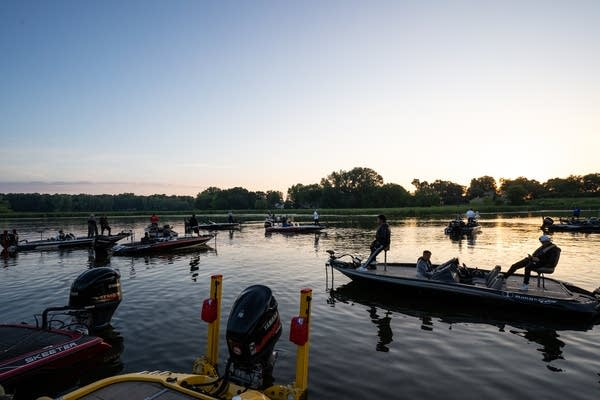 Anglers bide their time before the 6 a.m. start.