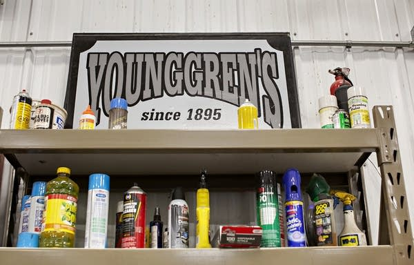 "A white sign reads ""Younggren's since 1895."""
