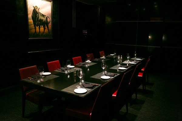 A private dining room sits empty at Manny's Steakhouse