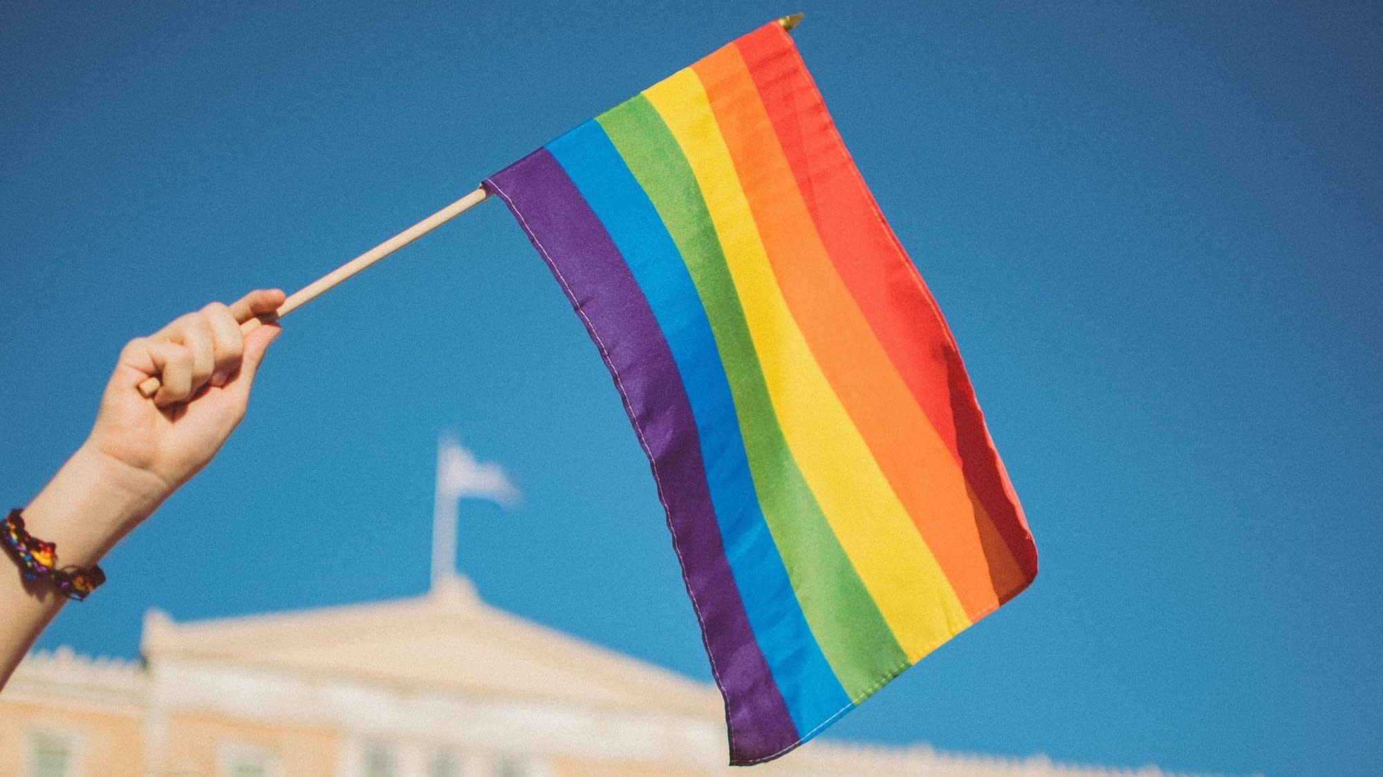 Person waving a pride flag