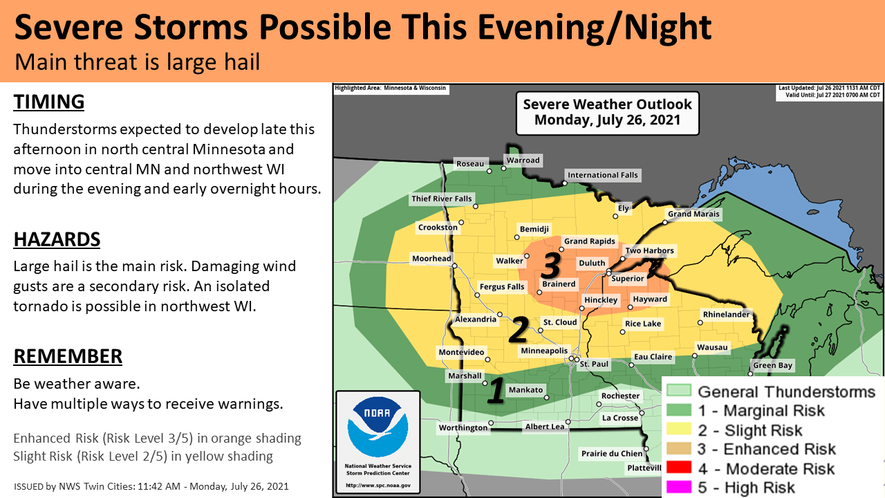 Severe weather risk areas Monday night