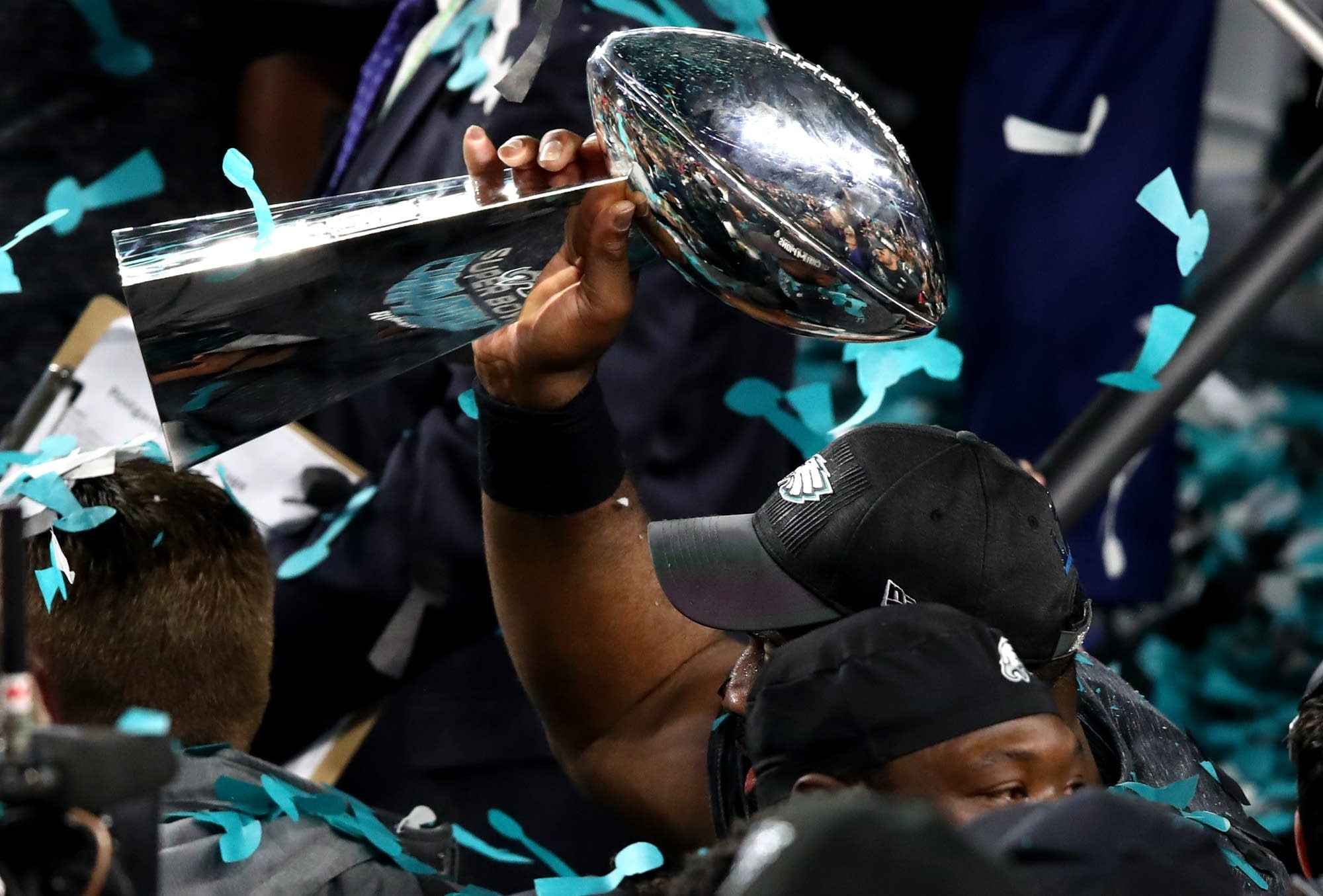 The Philadelphia Eagles celebrate after defeating the New England Patriots.