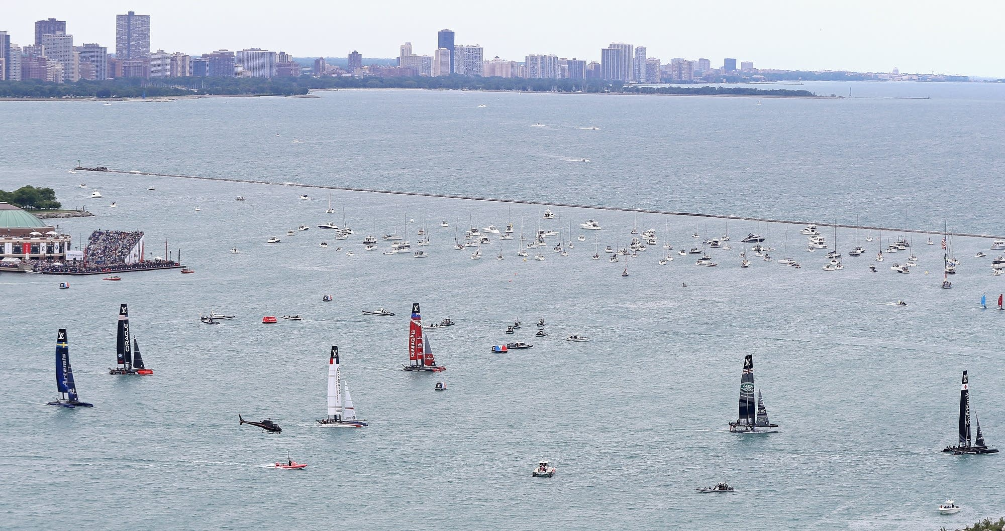 Boats race on Lake Michigan in Chicago.