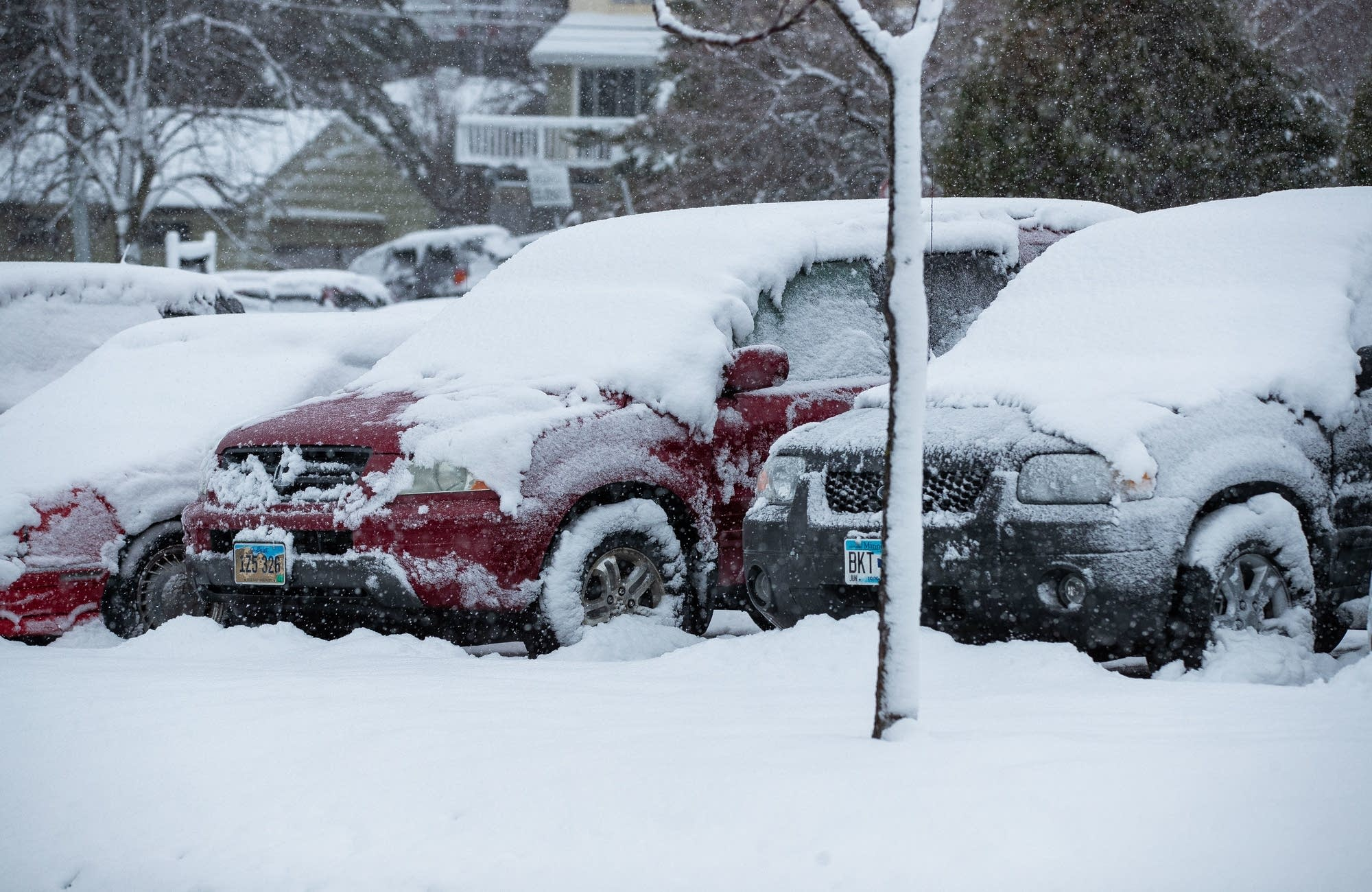 Heavy, wet snow blankets cars at the University of Minnesota Duluth.