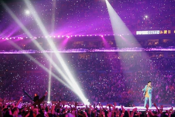 Prince performs during halftime.