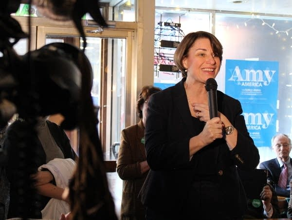 Amy Klobuchar speaks at a presidential campaign stop