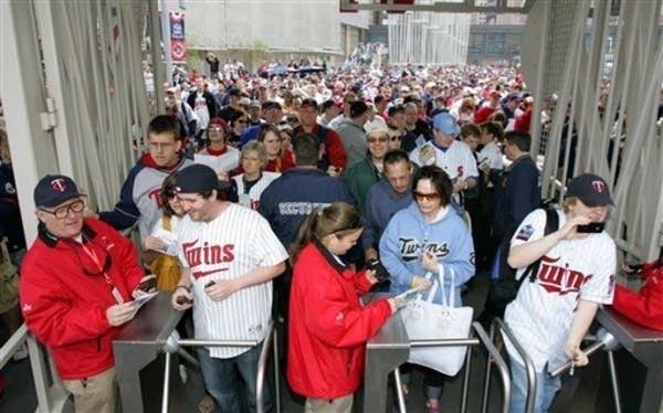 Fans entering Target Field