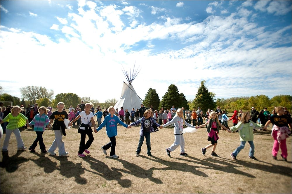 Students at pow wow