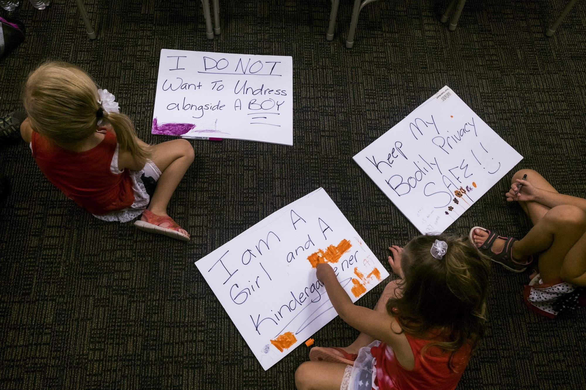 Children color on signs showing opposition to the transgender toolkit.