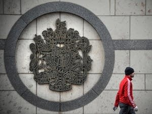 A man walks outside the British embassy building in Moscow on March 14.