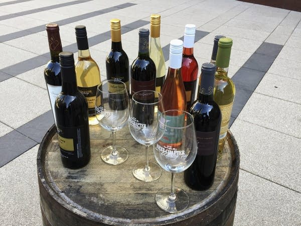 Bottles of wine and wine glasses