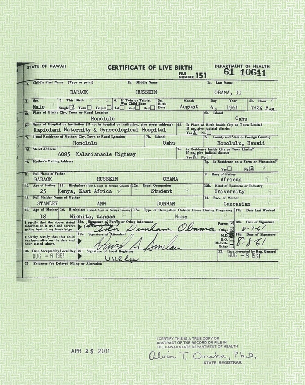 President Barack Obama's birth certificate