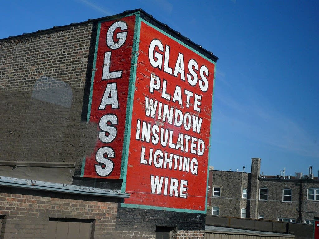 Glass plate window sign