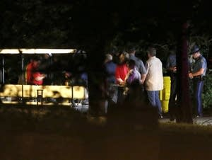 Rescue crews at the scene of a deadly boat accident in Branson, Mo.