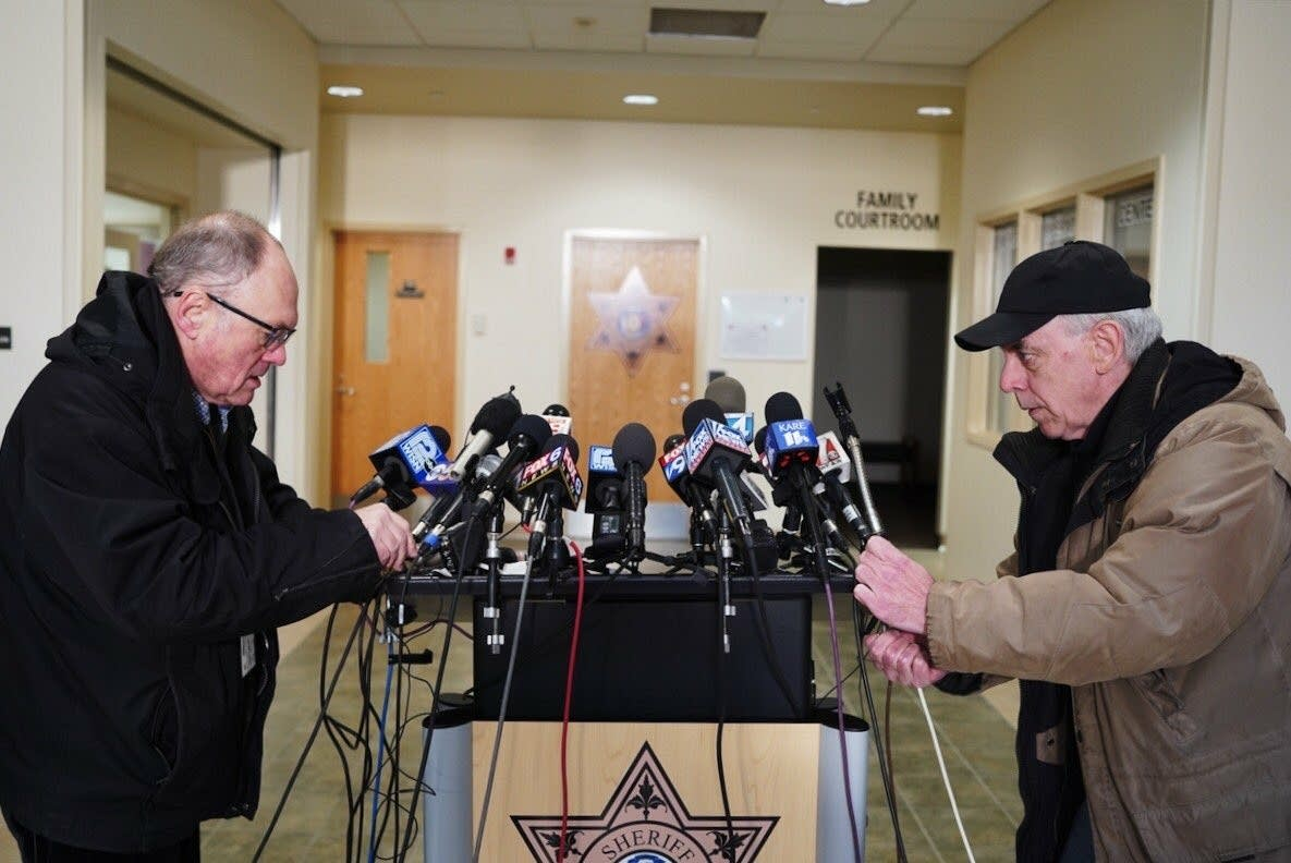 Microphones cover the podium at the Barron County Justice Center.