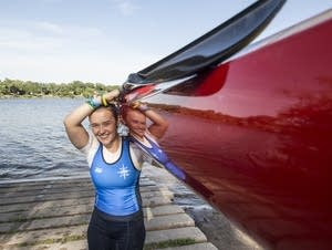 Poecher completes a practice on Lake Phalen