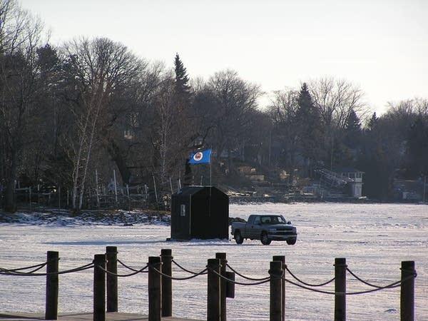 Ice fishing house on Lake Minnetonka