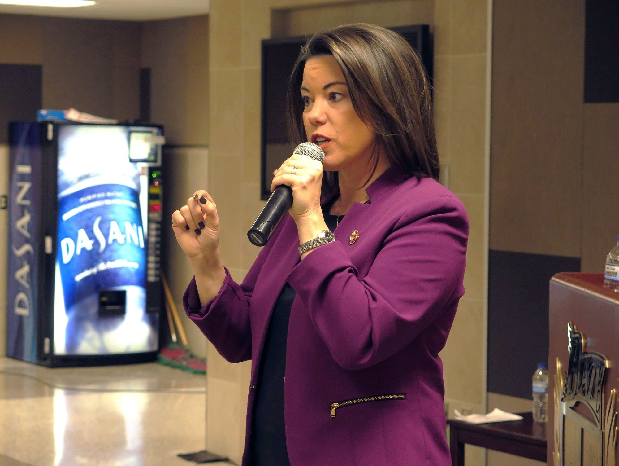 U.S. Rep. Angie Craig talks at a town hall at Burnsville High School