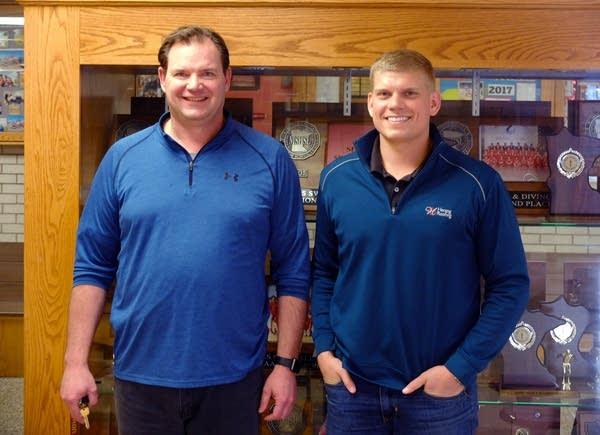 Rob Nielsen, Thielen's former coach, and former teammate Josh Herzog.