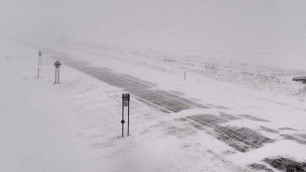 Snowdrifts cover parts of State Highway 9