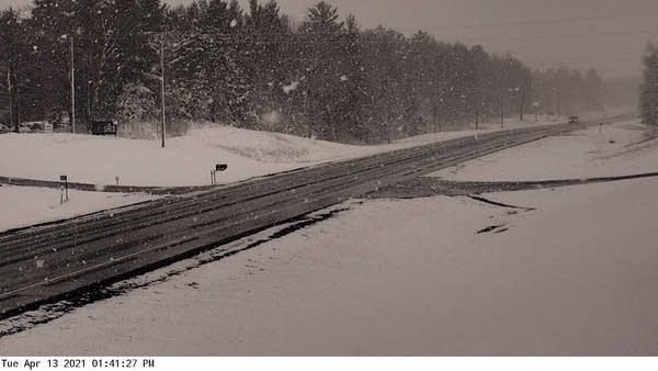 Snowfall near Emily, Minn., Tuesday