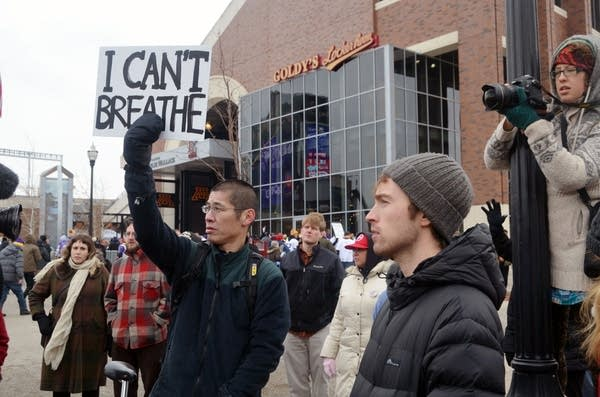 Protesters outside TCF Bank stadium