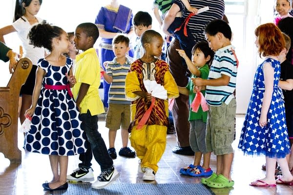 Young Christians in the hallway