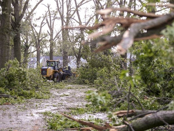 A loader clears a path through downed trees