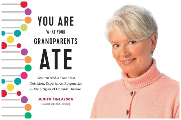 """Cover art of """"You Are What Your Grandparents Ate"""" next to an author photo."""