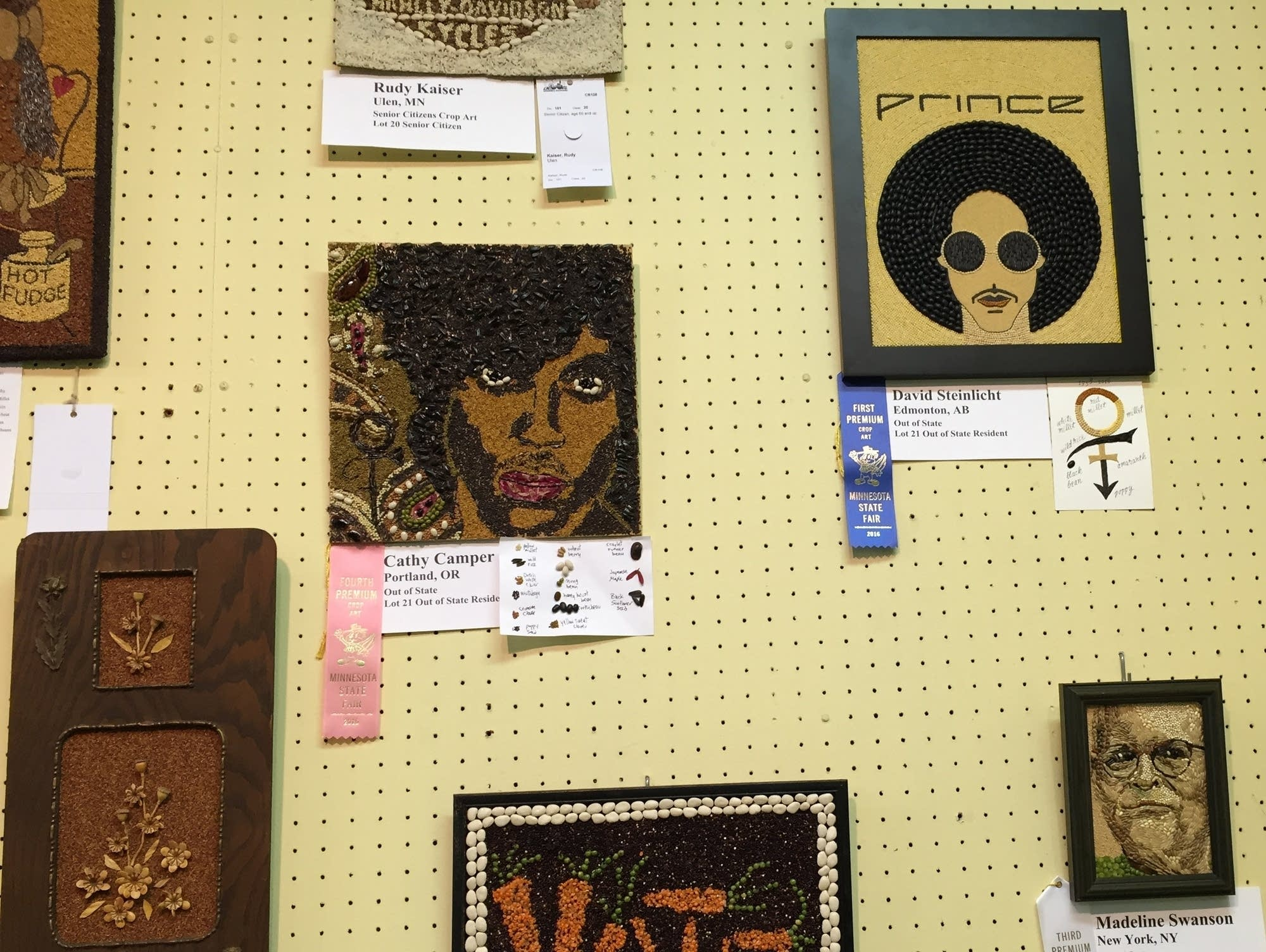 Prince seed art portraits from the 2016 Minnesota State Fair