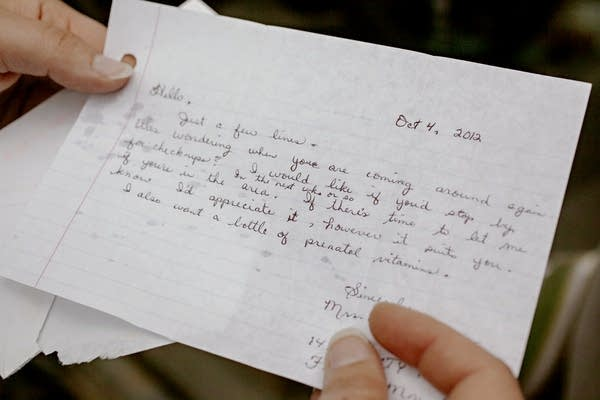 A closeup of a handwritten note.
