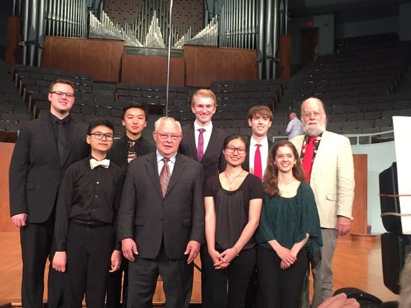 Michael Quimby and Michael Barone with the winners of the AGO/Quimby Regional Competitions for Young Organists