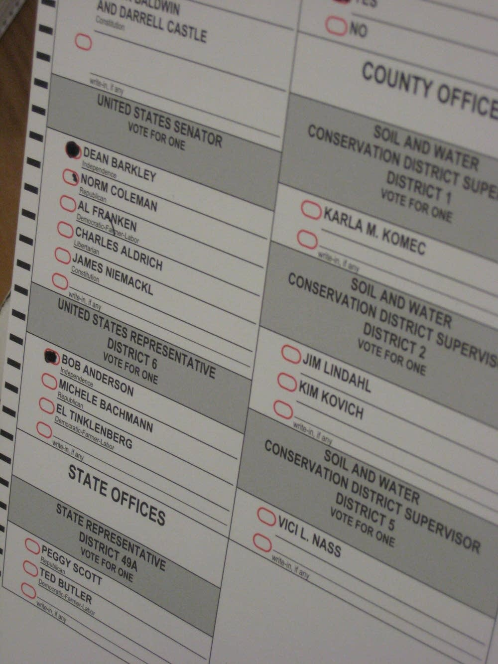 A ballot challenged by the Coleman campaign