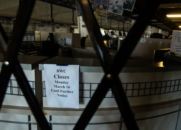 """A sign reads """"BWC closes Monday, March 16 until further notice"""""""