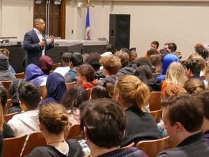U.S. Rep. Keith Ellison speaks to students at Washburn High.