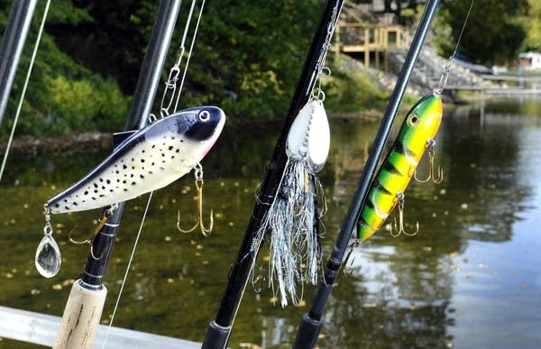 Heavy duty fishing poles carry muskie lures.