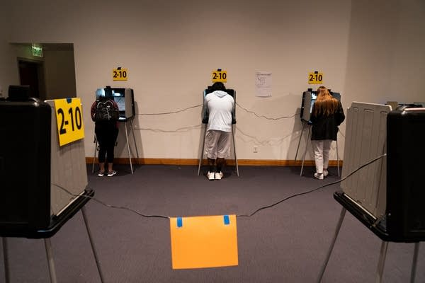 Three people stand at voting booths.