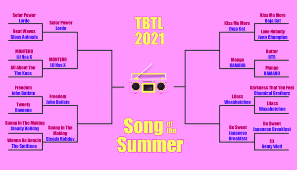 16 song bracket (yellow on pink) for Song of the Summer contest ROUND 2