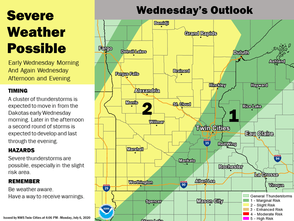 Severe weather risk areas Wednesday