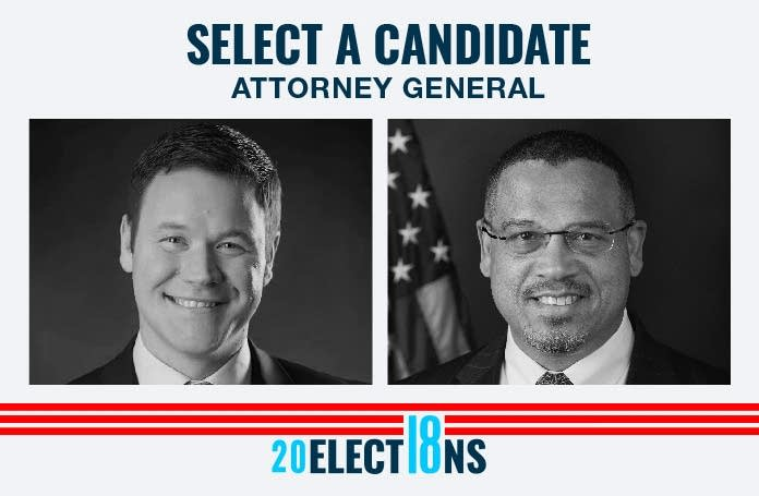 Democrat Ellison and Republican Wardlow run for state attorney general.