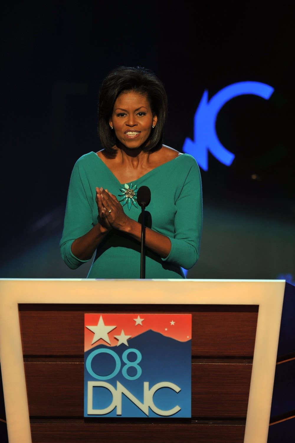 Michelle Obama at the podium