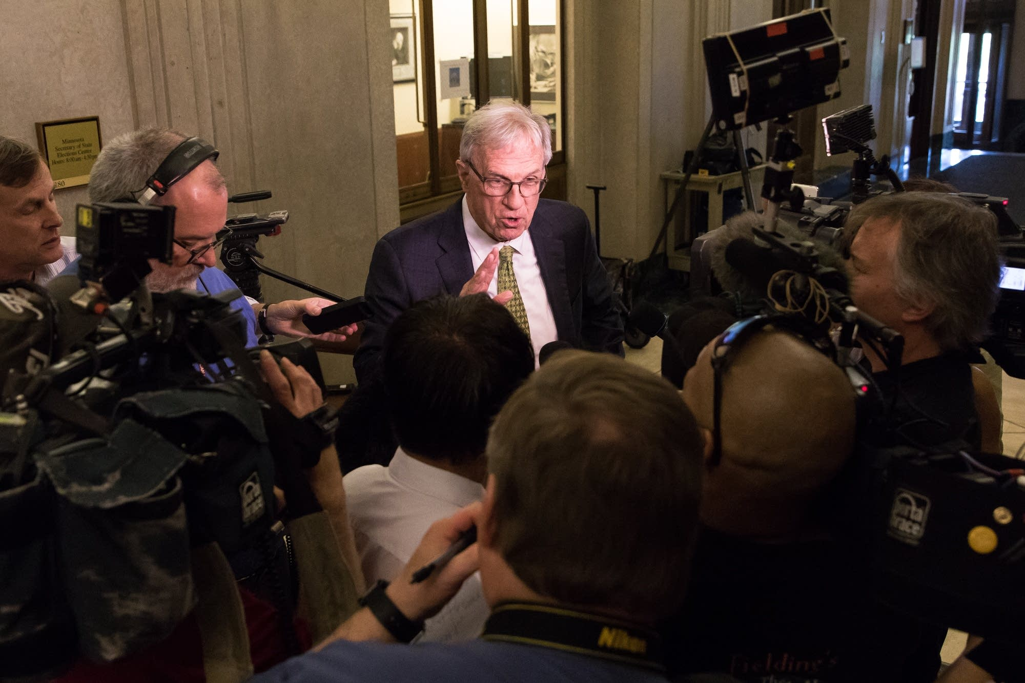 Former Ramsey County Attorney Tom Foley speaks with the press.