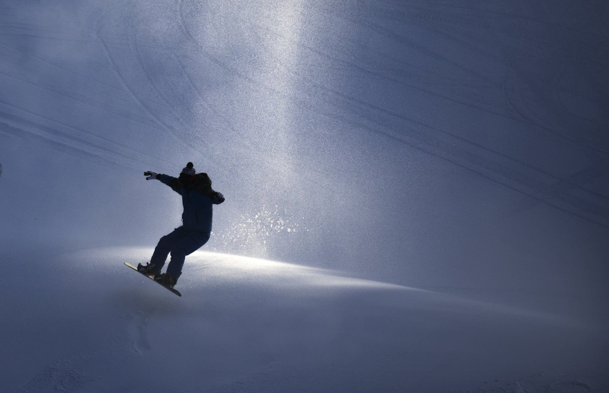 A snowboarder at Buck Hill.